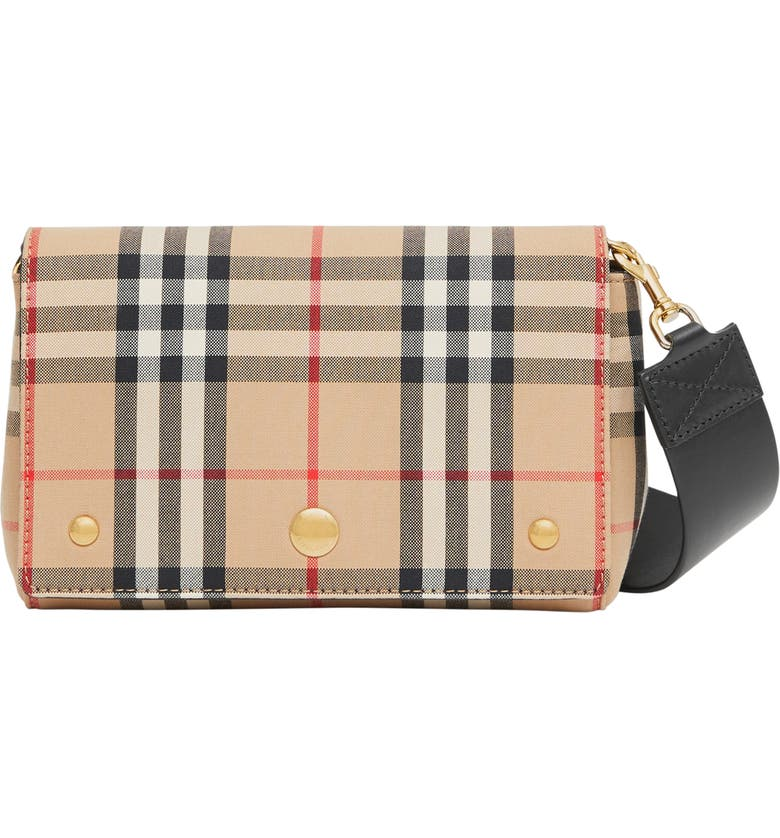 BURBERRY Note Vintage Check & Leather Crossbody Bag, Main, color, ARCHIVE BEIGE/ BLACK