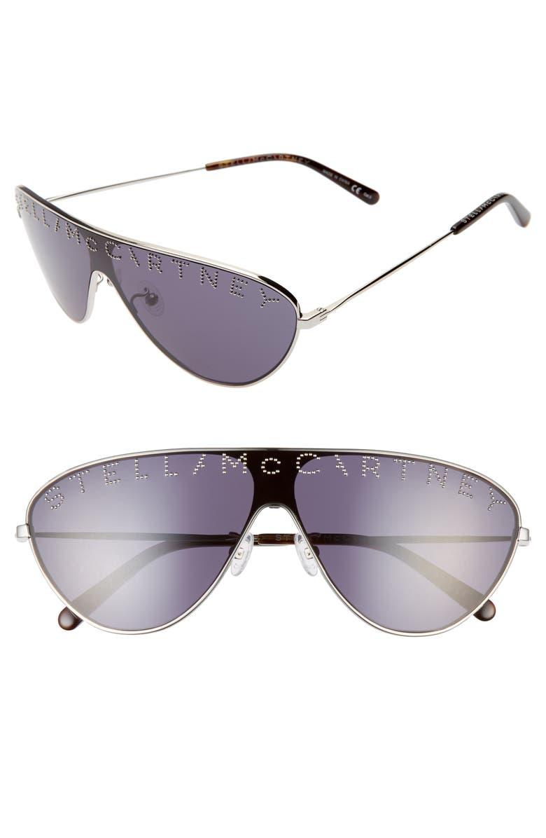STELLA MCCARTNEY 99mm Shield Sunglasses, Main, color, SILVER/ BLUE