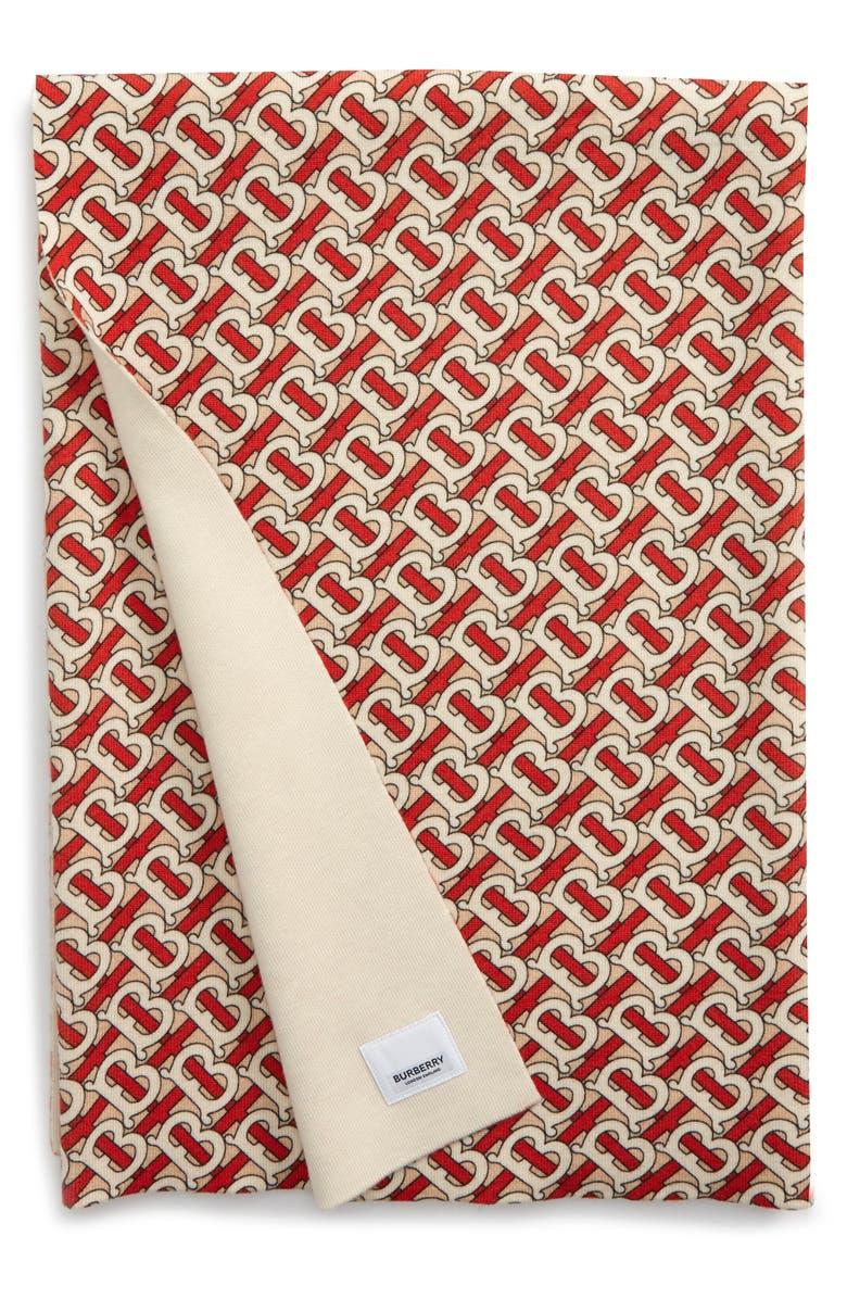 BURBERRY Freddie Merino Wool Blend Baby Blanket, Main, color, VERMILLION