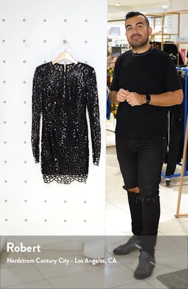 Spider Sequin Web Long Sleeve Minidress, sales video thumbnail