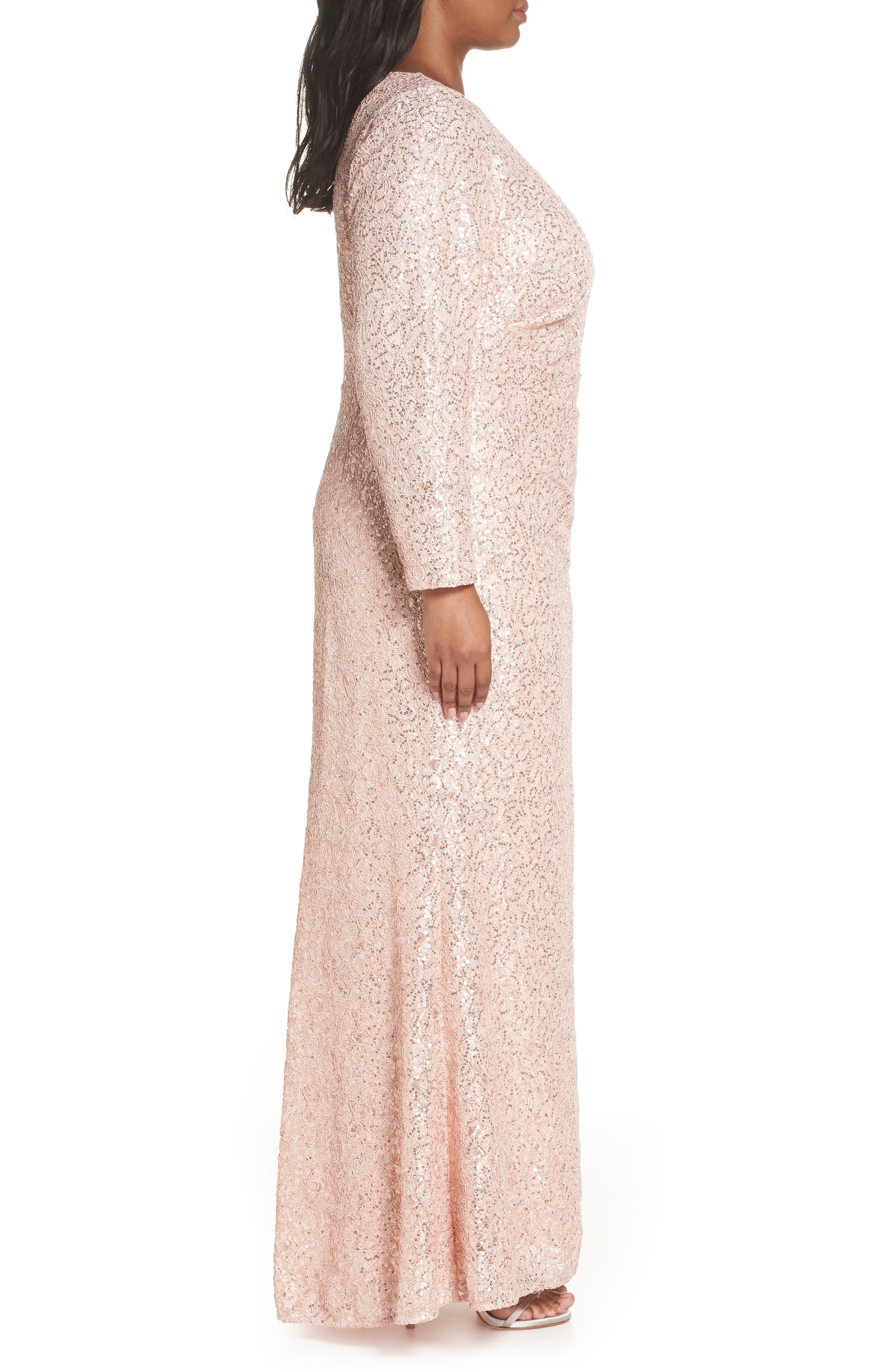 ,                             Sequin Lace Evening Dress,                             Alternate thumbnail 4, color,                             BLUSH