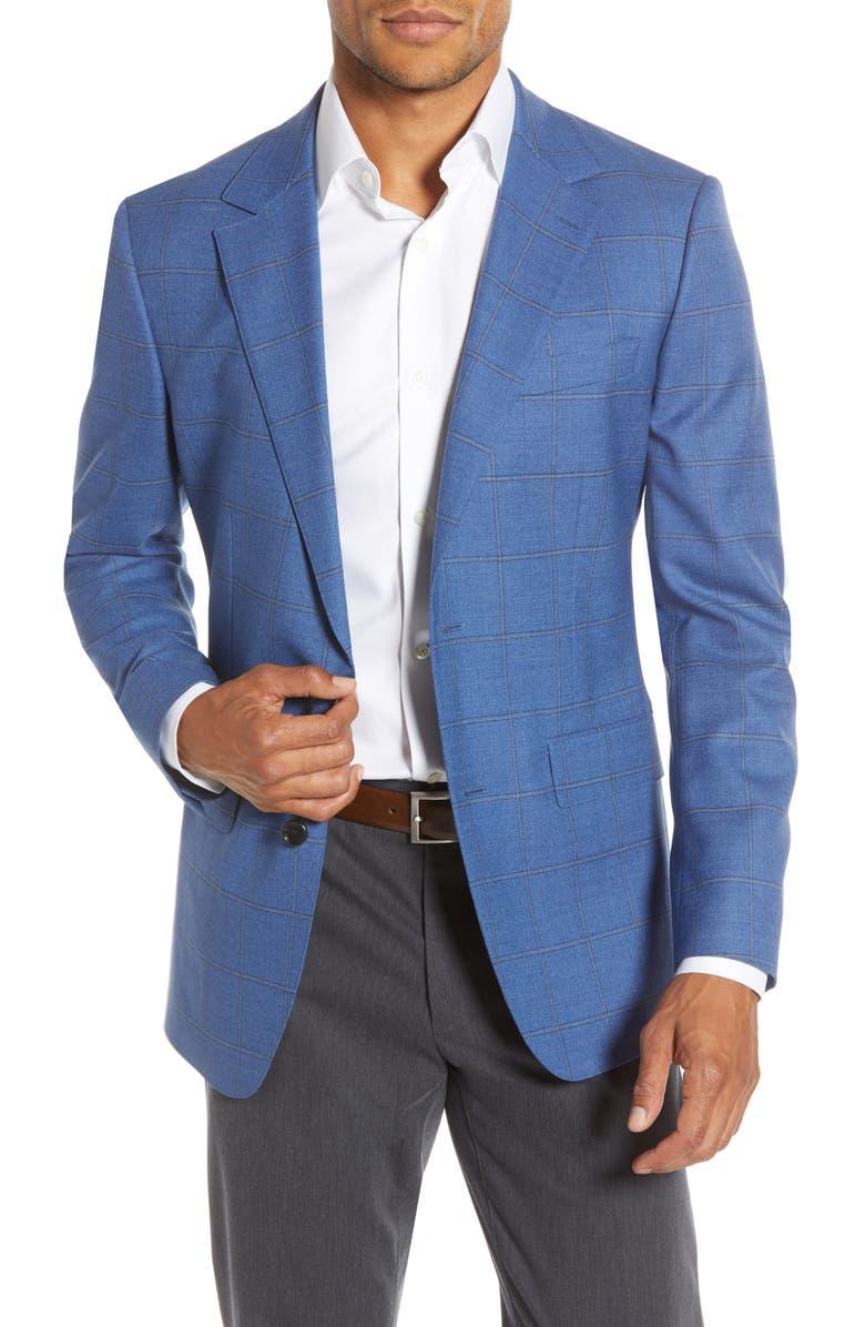 BONOBOS Jetsetter Slim Fit Windowpane Stretch Wool Sport Coat, Main, color, 400