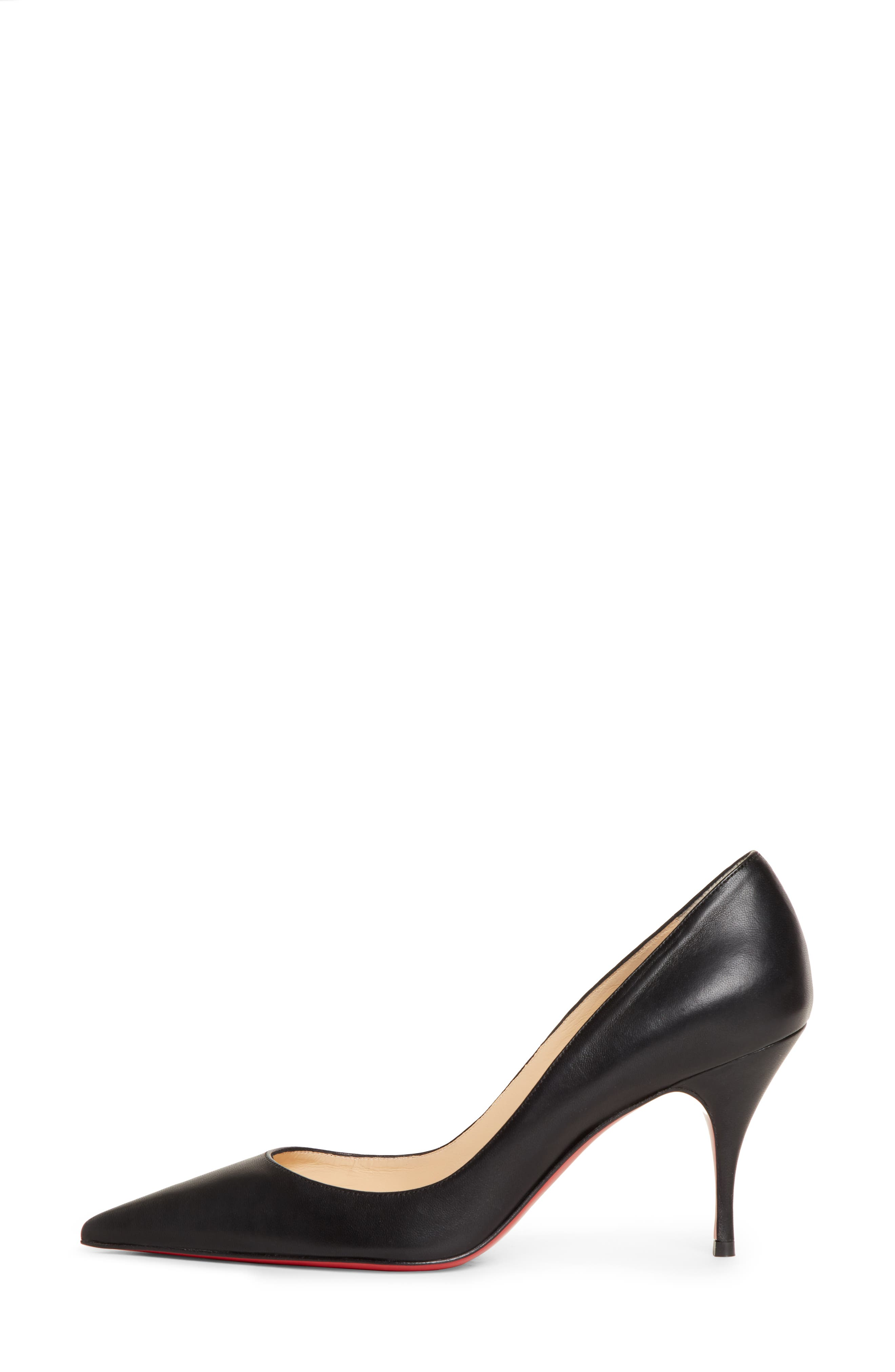 ,                             Clare Pointy Toe Pump,                             Alternate thumbnail 3, color,                             BLACK LEATHER