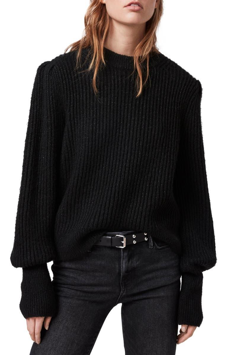 ALLSAINTS Mrya Metallic Ribbed Sweater, Main, color, BLACK