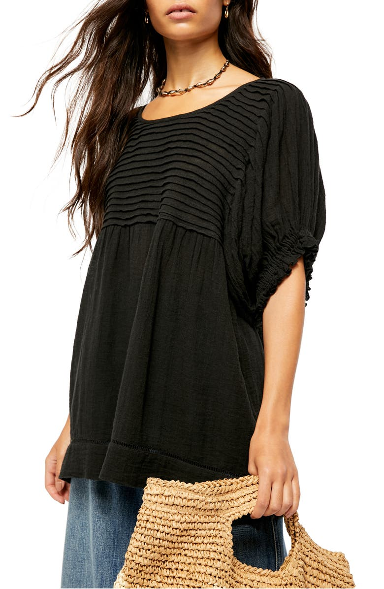 FREE PEOPLE Elsie Tunic Top, Main, color, BLACK COMBO