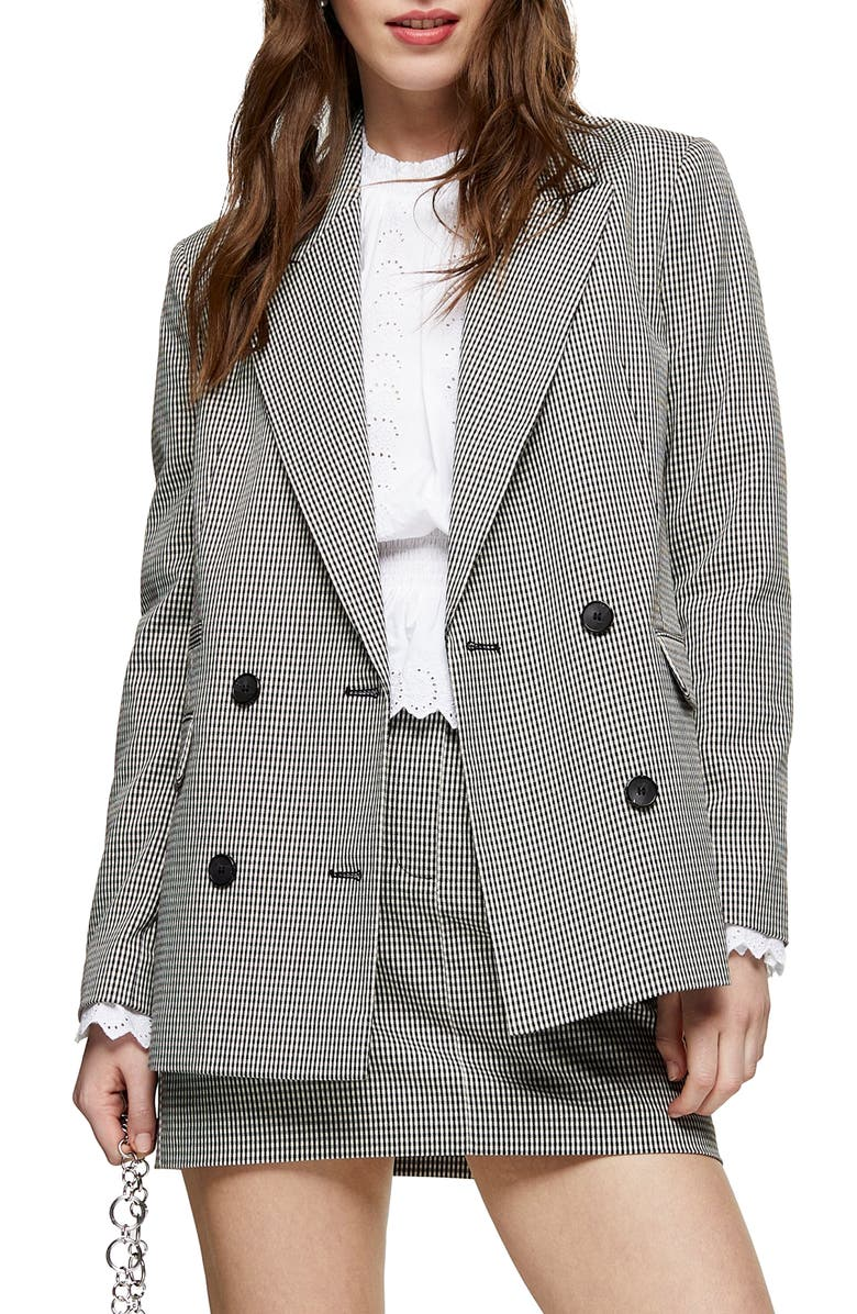 TOPSHOP Mini Dogtooth Double Breasted Blazer, Main, color, BLACK MULTI