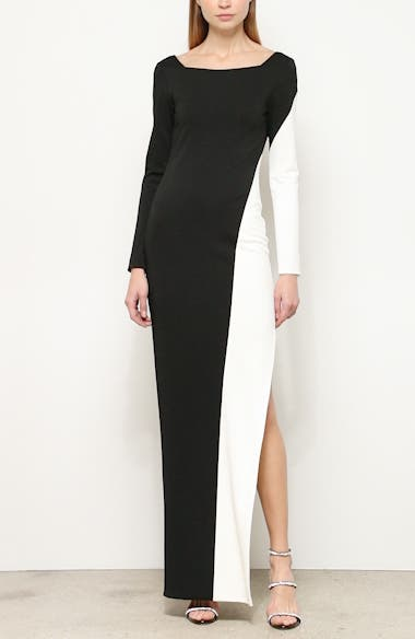 Long Sleeve Colorblock Gown, video thumbnail