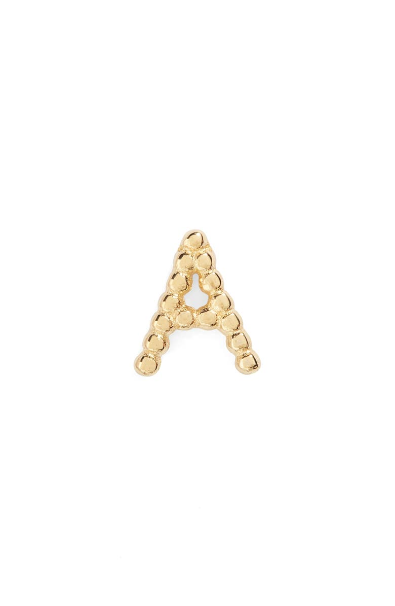 BONY LEVY Single Initial Stud Earring, Main, color, YELLOW GOLD - A