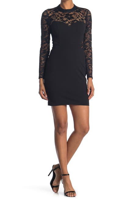 Image of GUESS Sheer Lace Sleeve Bodycon Dress