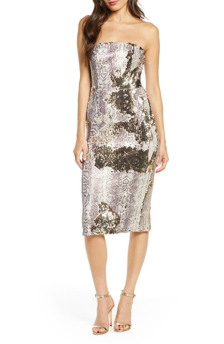 DRESS THE POPULATION Snake Print Sequin Tube Dress, Main, color, 060