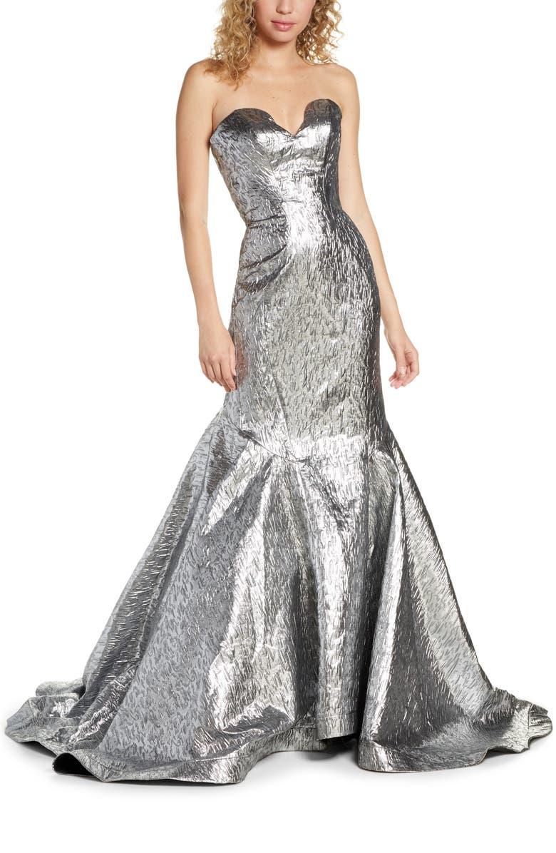 MAC DUGGAL Lamé Mermaid Gown, Main, color, MERCURY