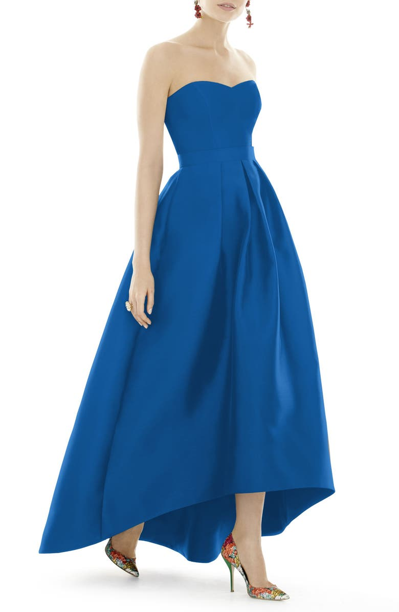 ALFRED SUNG Strapless High/Low Ballgown, Main, color, 448