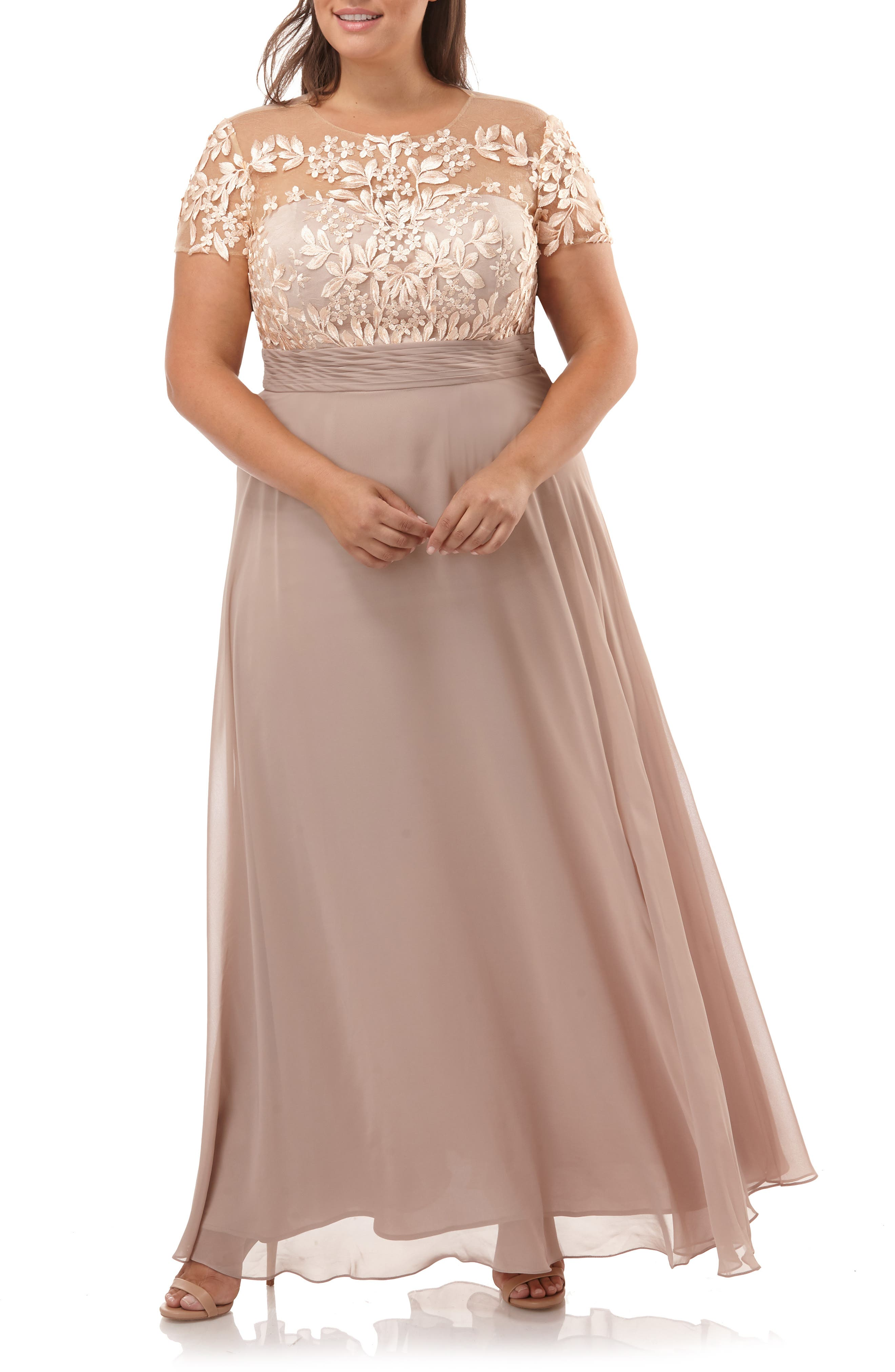 Floral Embroidered Chiffon Gown, Main, color, BLUSH NUDE