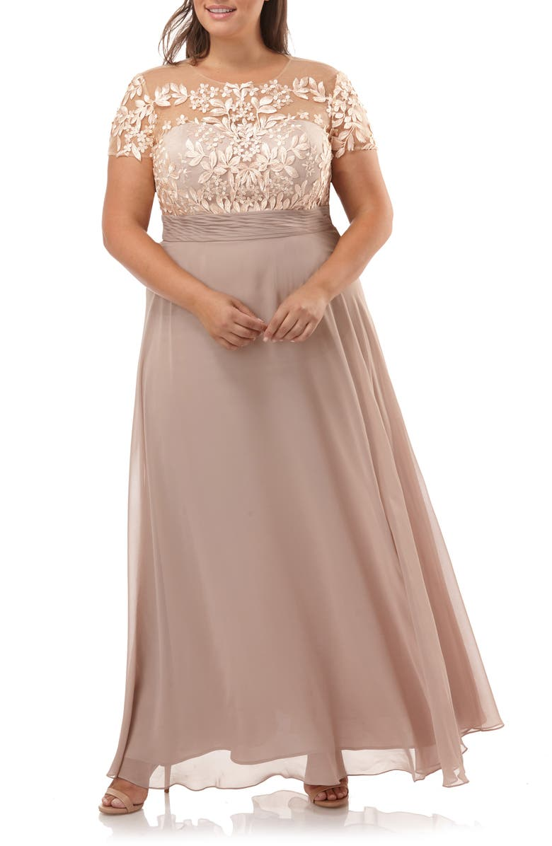 JS COLLECTIONS Floral Embroidered Chiffon Gown, Main, color, BLUSH NUDE