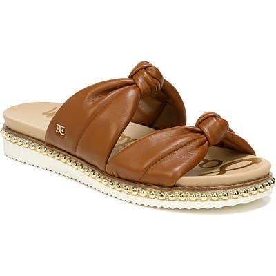 Sam Edelman Alyse Knotted Strap Studded Slide Sandal- Brown