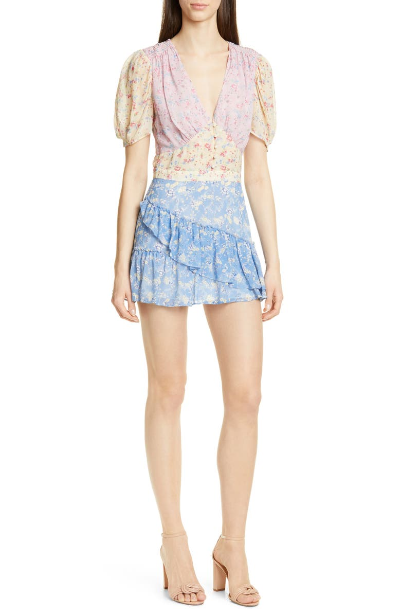 LOVESHACKFANCY Bea Colorblock Ditsy Silk Minidress, Main, color, MULTI