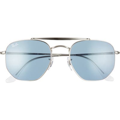 Ray-Ban Marshal 5m Aviator Sunglasses - Silver/ Azure Mirror