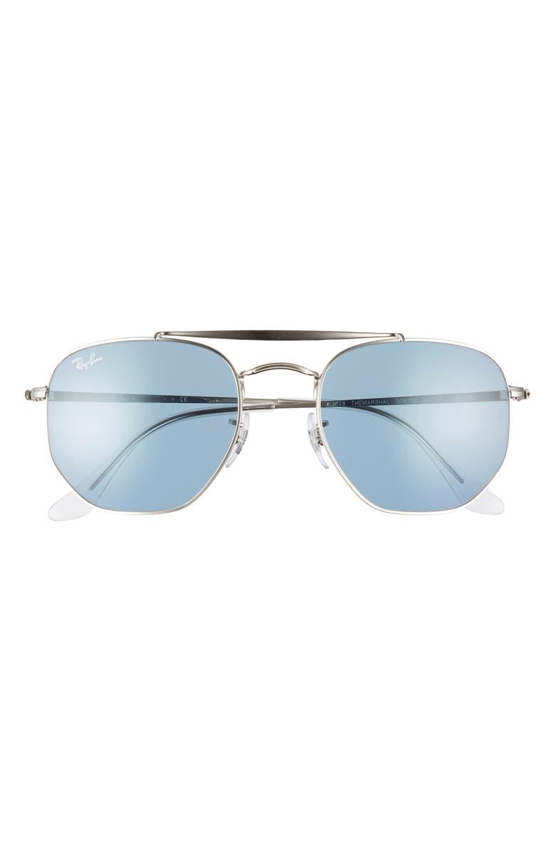 RAY-BAN Marshal 54mm Aviator Sunglasses, Main, color, SILVER/ AZURE MIRROR