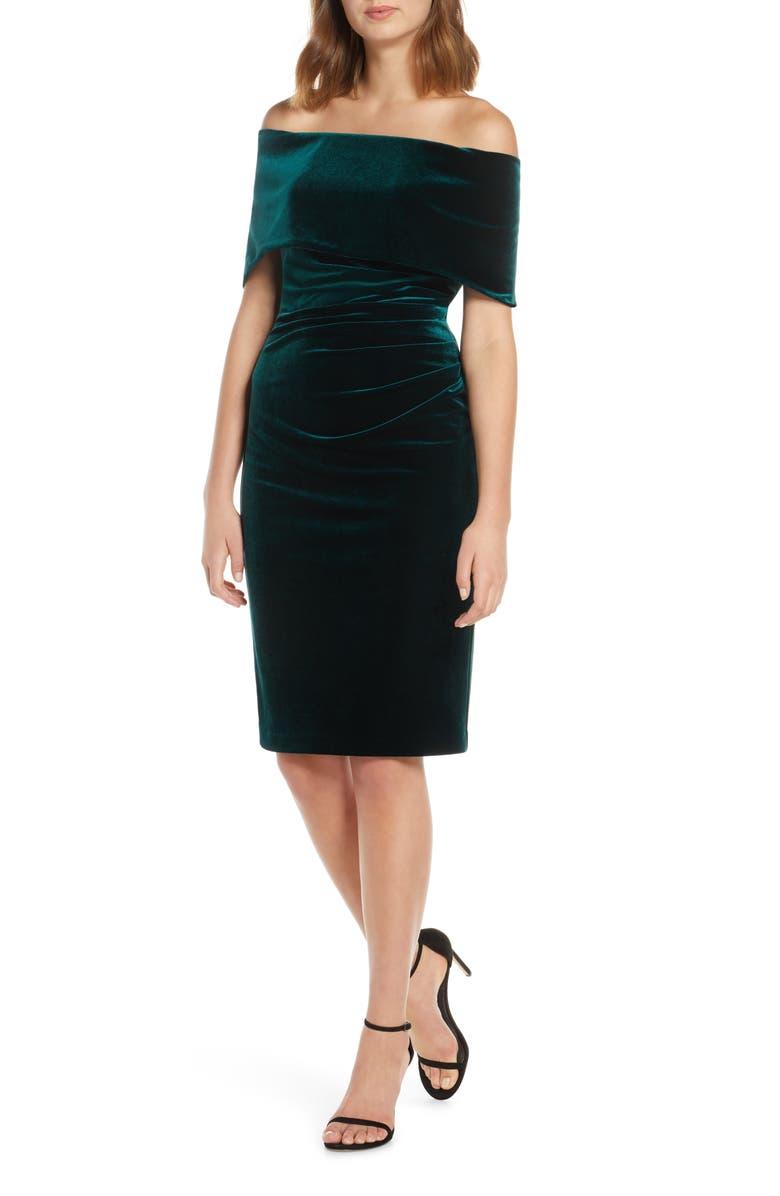 VINCE CAMUTO Velvet Off the Shoulder Dress, Main, color, HUNTER