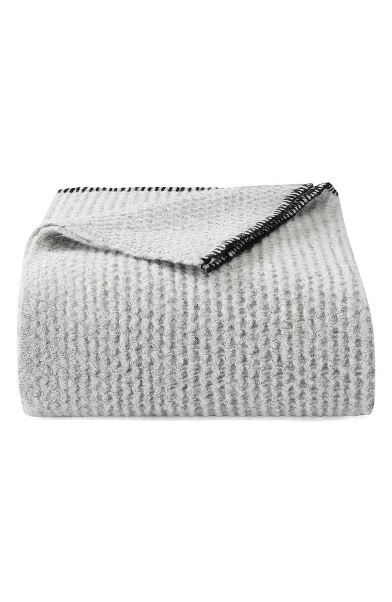 VERA WANG Marled Knit Throw Blanket, Main, color, PEWTER