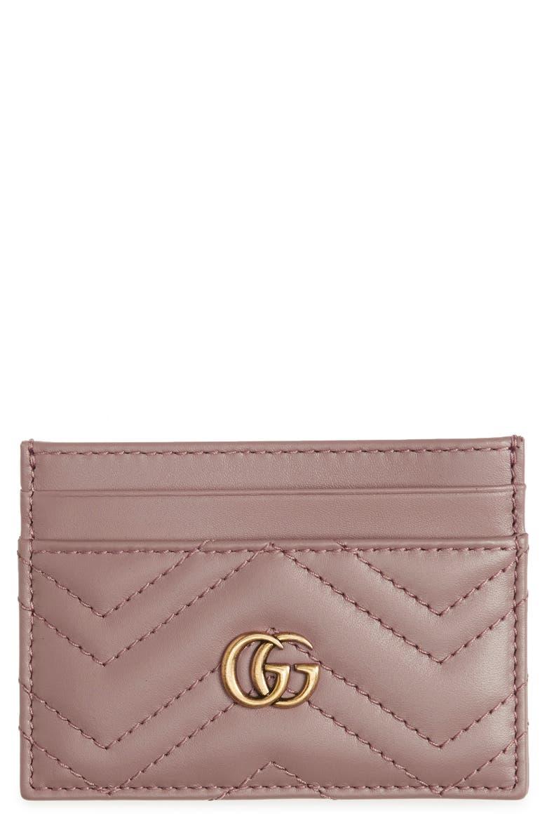 GUCCI Matelassé Leather Card Case, Main, color, PORCELAIN ROSE