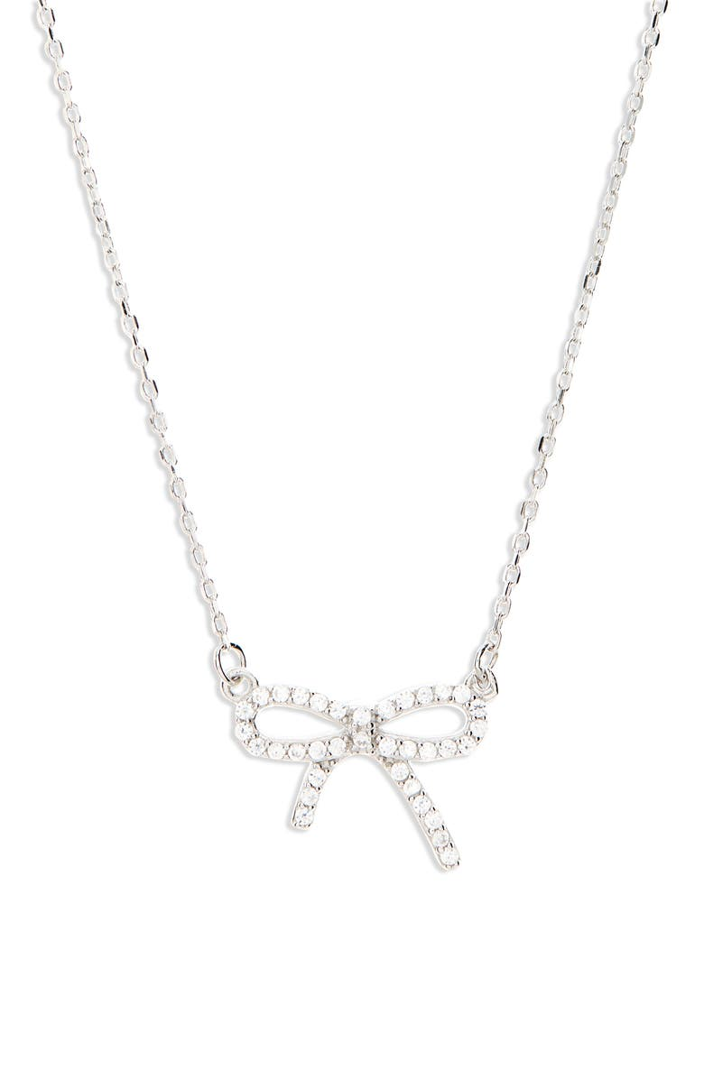 RUBY AND RY Pavé Bow Necklace, Main, color, 710