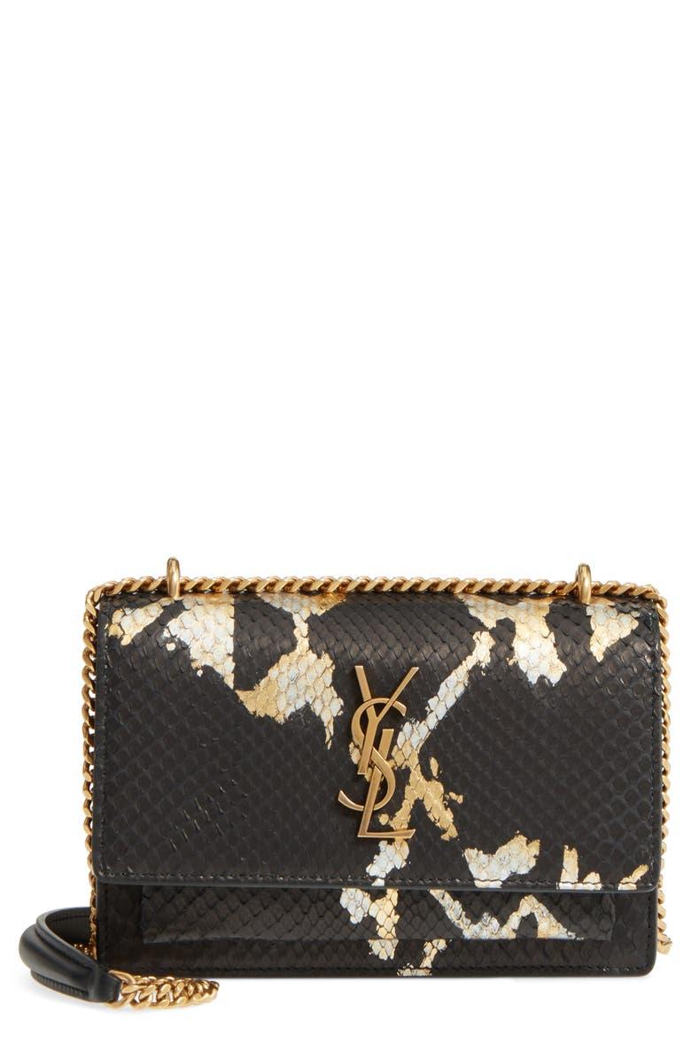 SAINT LAURENT Mini Sunset Painted Genuine Python Wallet on a Chain, Main, color, 012