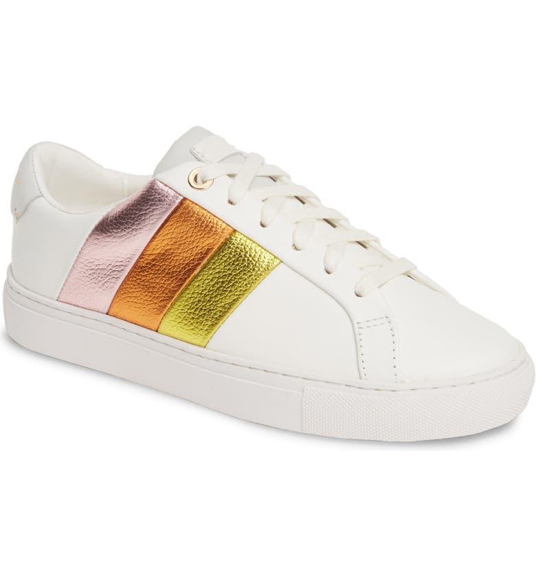 KURT GEIGER LONDON Lane Rainbow Sneaker, Main, color, WHITE LEATHER/METALLIC STRIPE