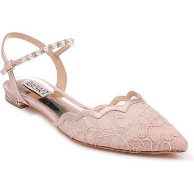 Badgley Mischka Lennon Embellished Skimmer Flat- Pink