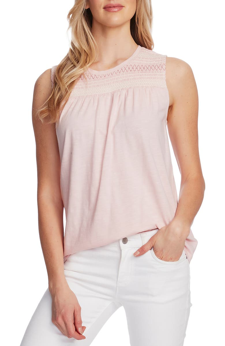 VINCE CAMUTO Embroidered Yoke Sleeveless Cotton Blend Top, Main, color, FRESH PINK