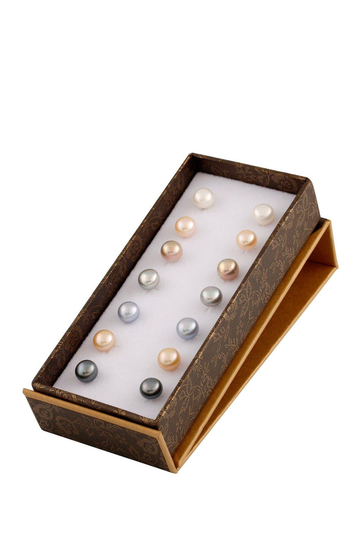Image of Splendid Pearls 7-8mm Cultured Freshwater Pearl Earrings Set