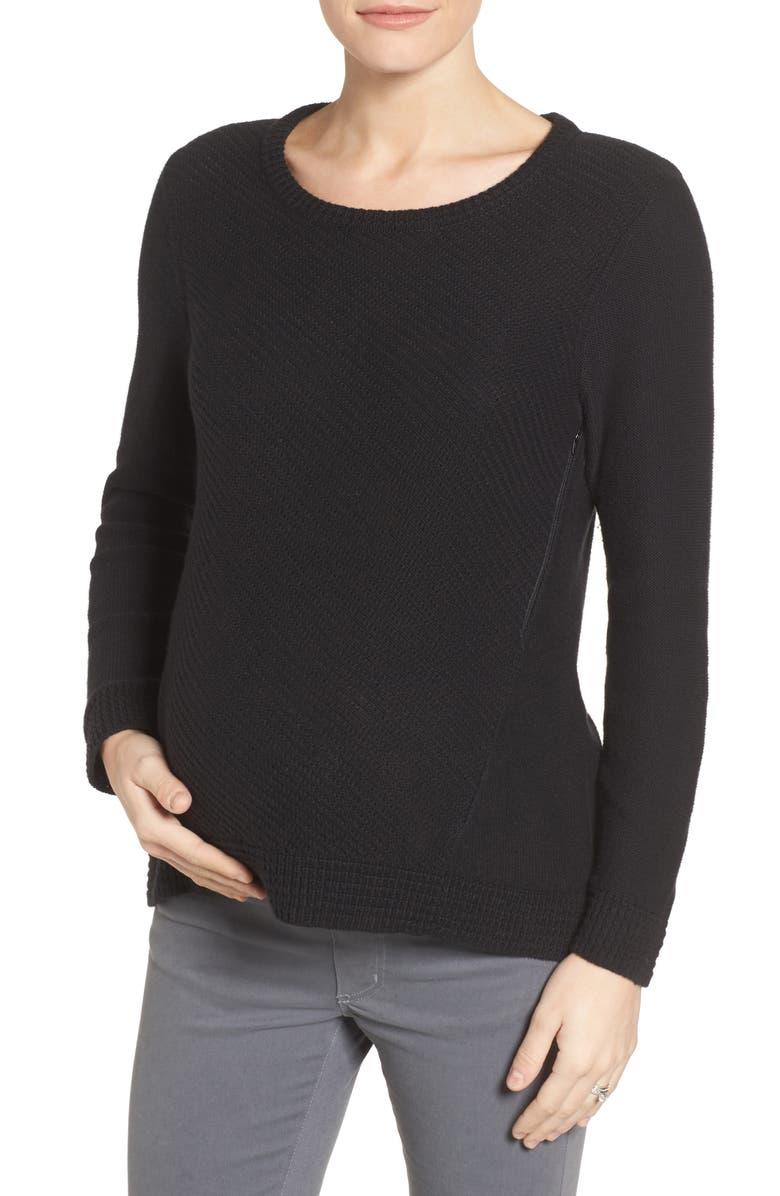 LOYAL HANA Wiley Maternity/Nursing Sweatshirt, Main, color, BLACK