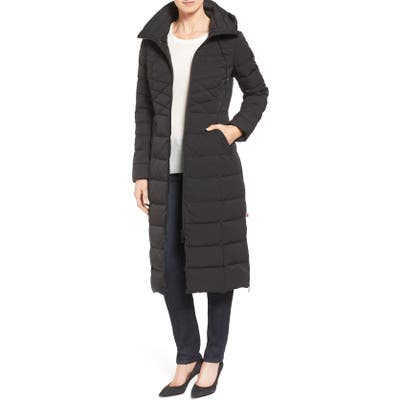 Bernardo Quilted Long Coat With Down & Primaloft Fill, Black