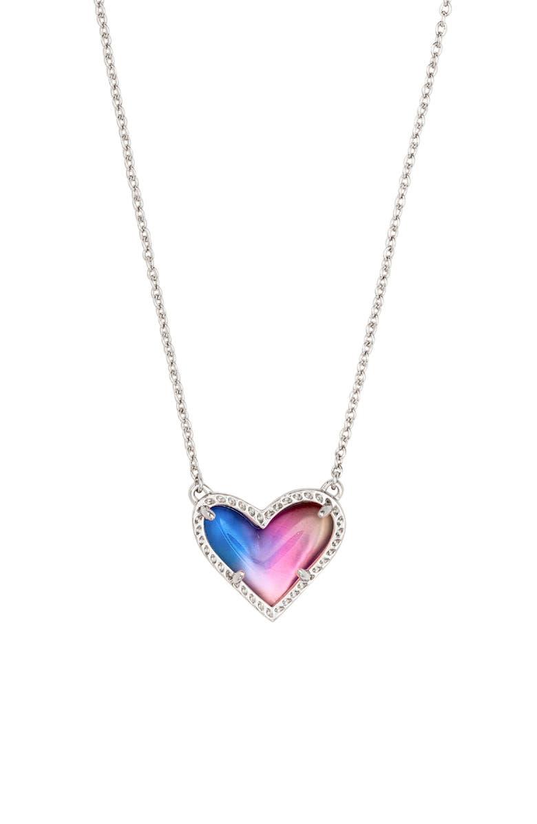 KENDRA SCOTT Ari Heart Pendant Necklace, Main, color, RHODIUM WATERCOLOR ILLUSION