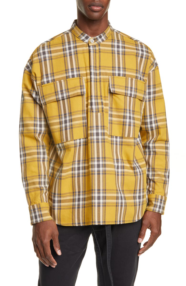 FEAR OF GOD Plaid Band Collar Twill Popover Shirt, Main, color, GARDEN GLOVE YELLOW PLAID