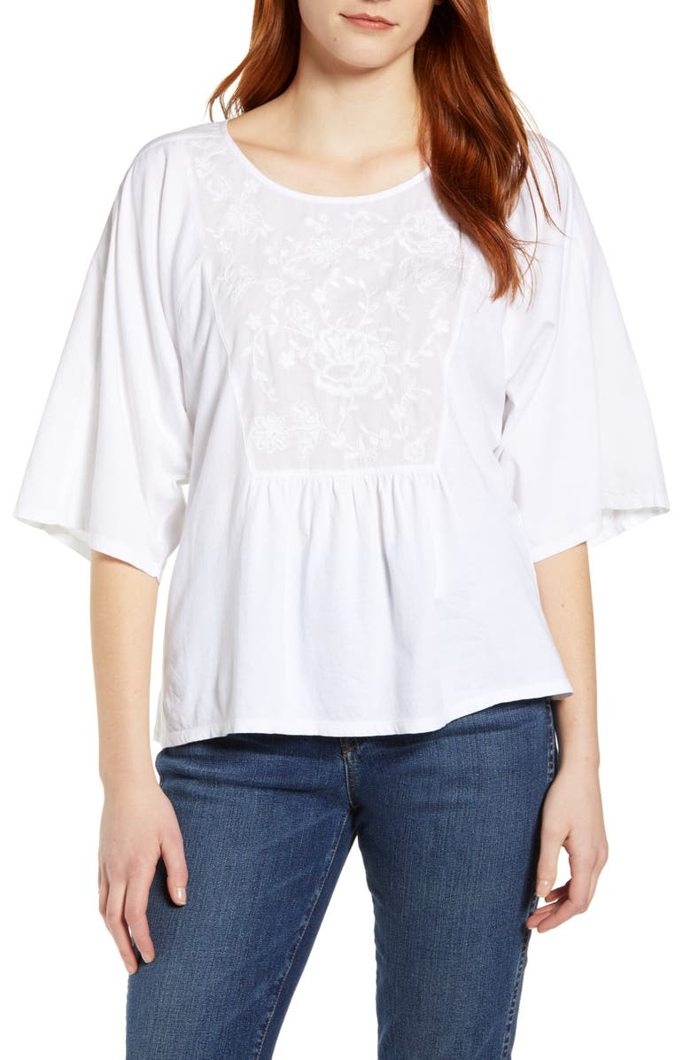 CASLON<SUP>®</SUP> Embroidered Bib Top, Main, color, 100