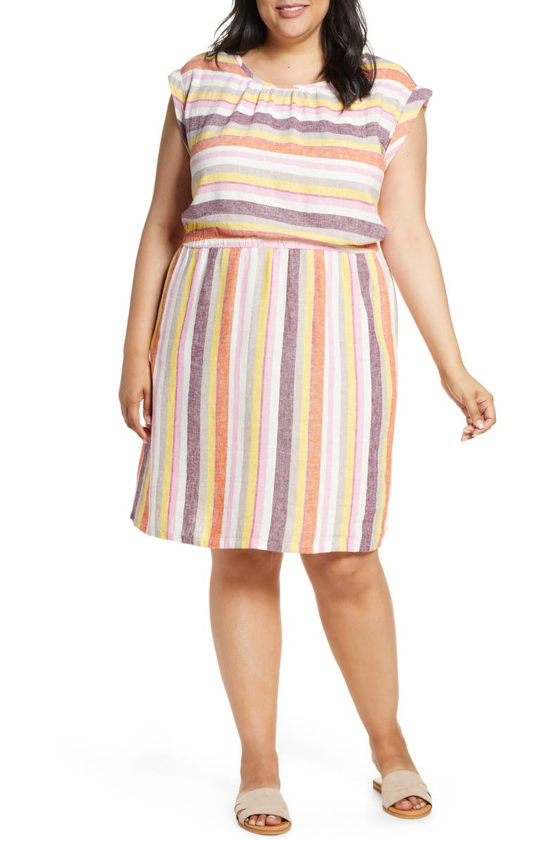 CASLON<SUP>®</SUP> Stripe Linen Dress, Main, color, PINK BISCOTTI STRIPE
