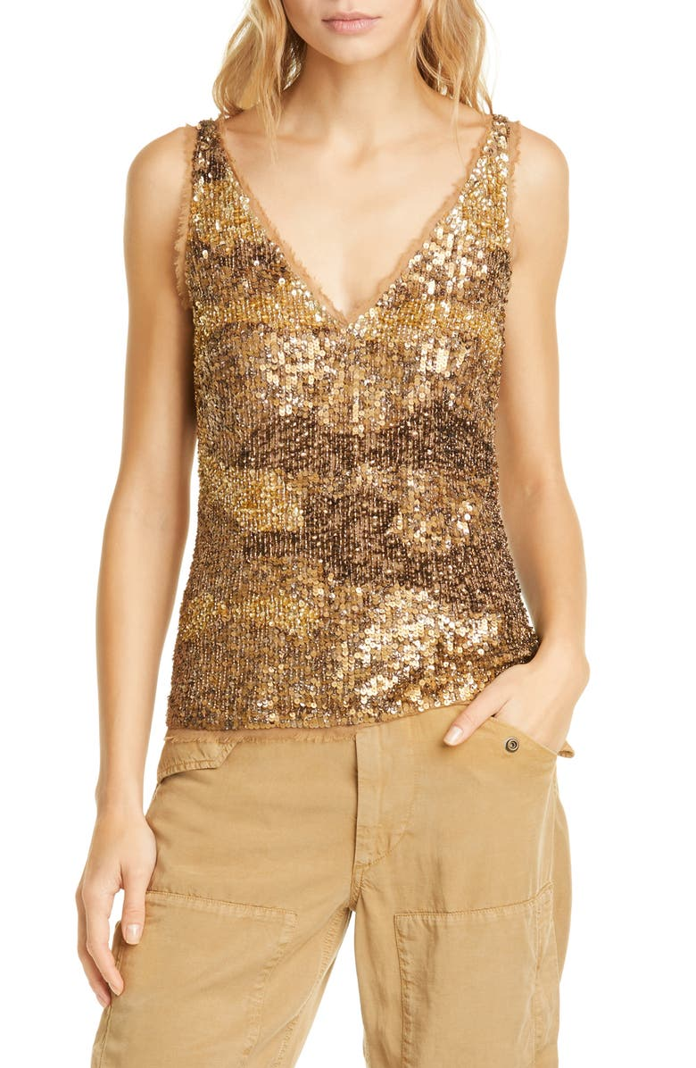 POLO RALPH LAUREN Gold Sequin & Tulle Tank Top, Main, color, GOLD MU
