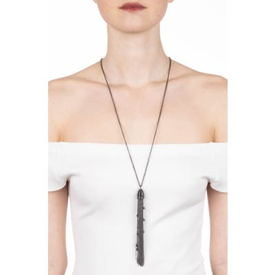 Alexis Bittar Black On Black Cascading Tassel Pendant Necklace