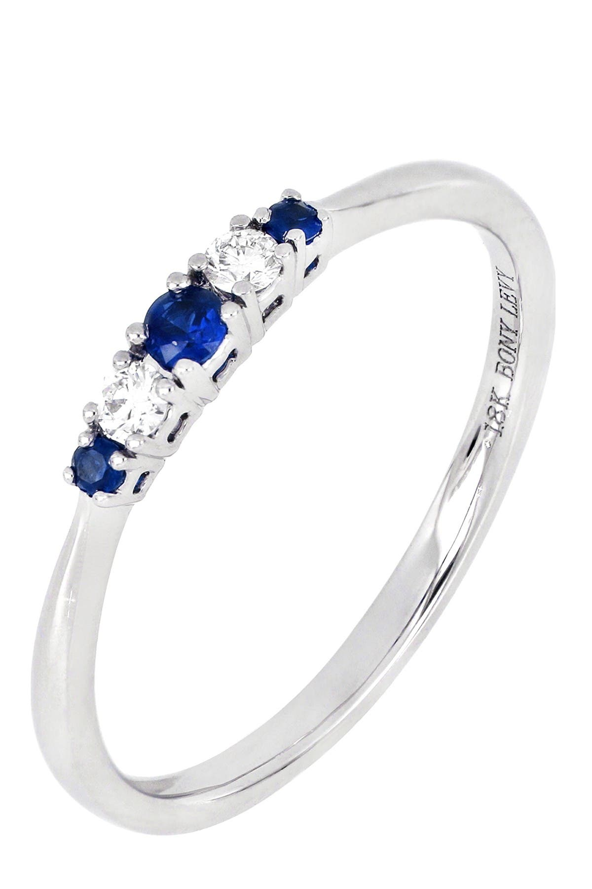 Image of Bony Levy 18K White Gold Prong Set Sapphire & Diamond Stackable Band  - 0.07 ctwRing