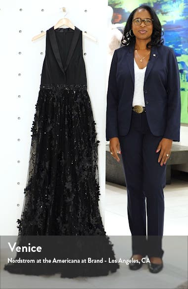 Tuxedo Lapel Floral Embellished Gown, sales video thumbnail