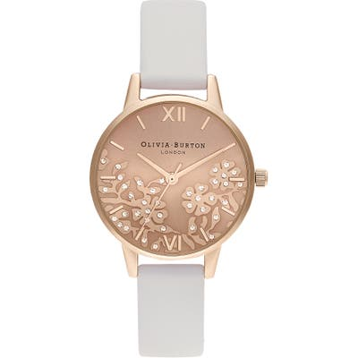Olivia Burton Bejewelled Lace Leather Strap Watch, 30Mm