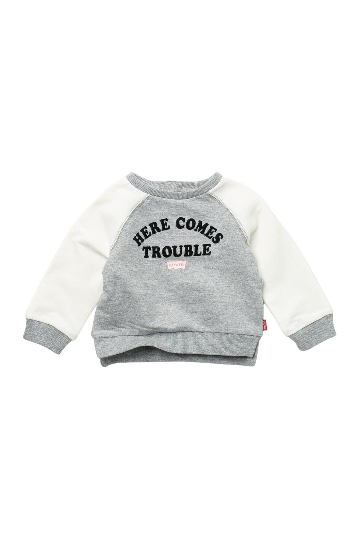 Image of Levi's Here Comes Trouble Crew Neck Sweater (Baby Girls 3-9M)
