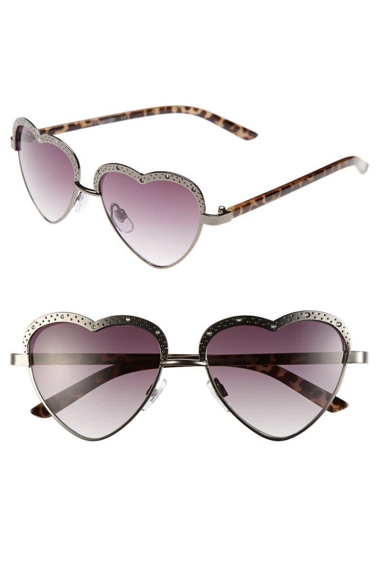 STEVE MADDEN 'Heart' 53mm Sunglasses, Main, color, 025