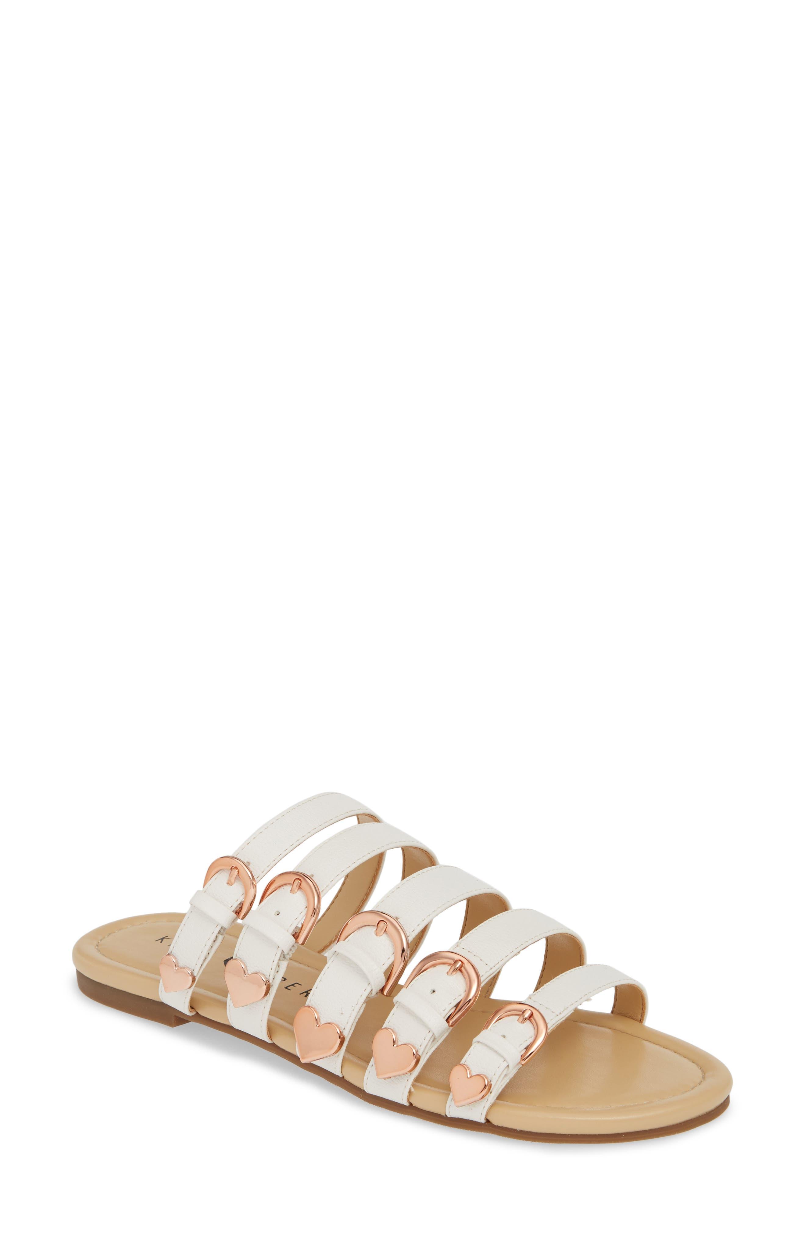 women's katy perry nikki flat slide sandal, size 7.5 m - white
