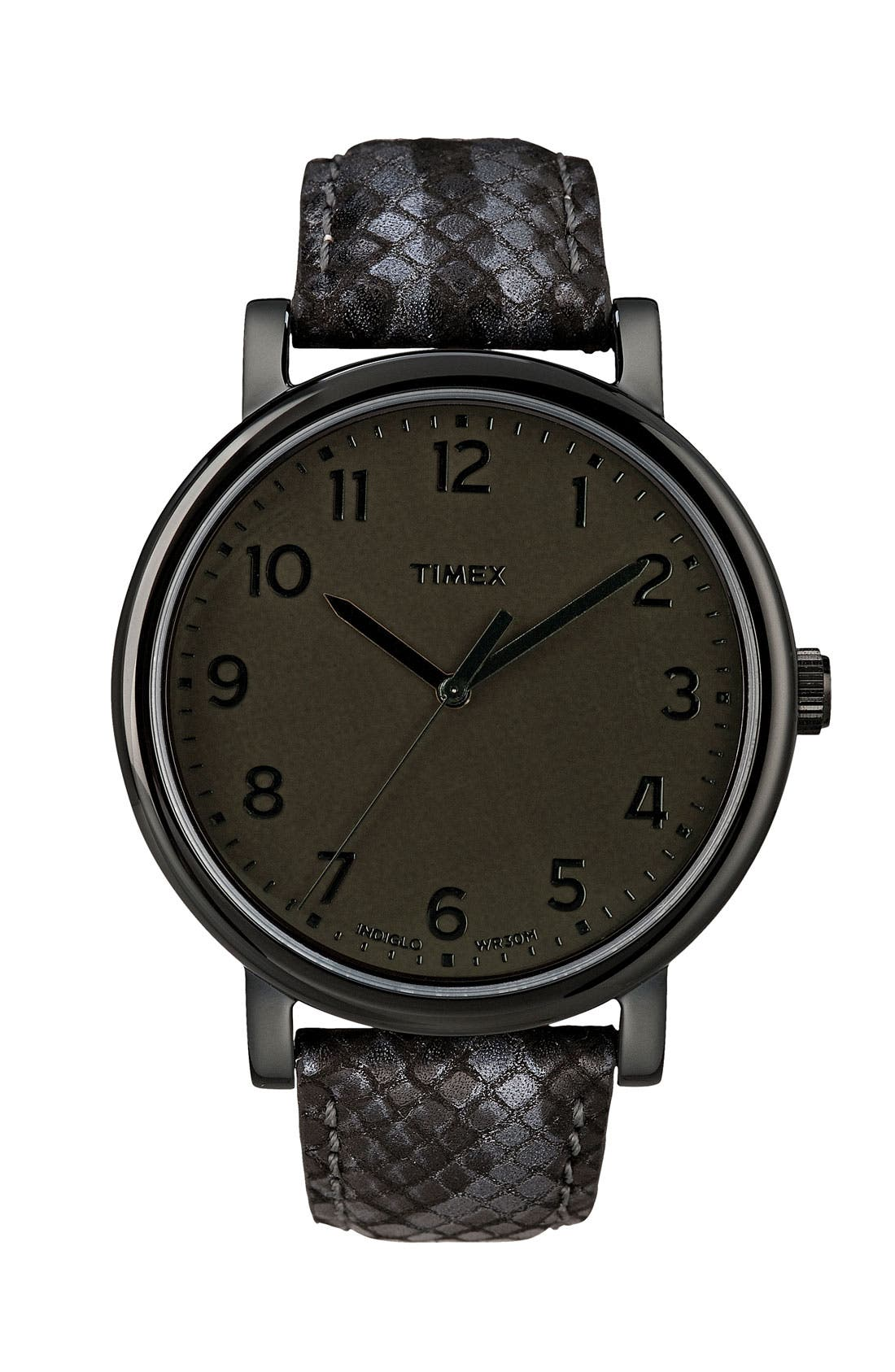 'Easy Reader' Leather Strap Watch, Main, color, 001