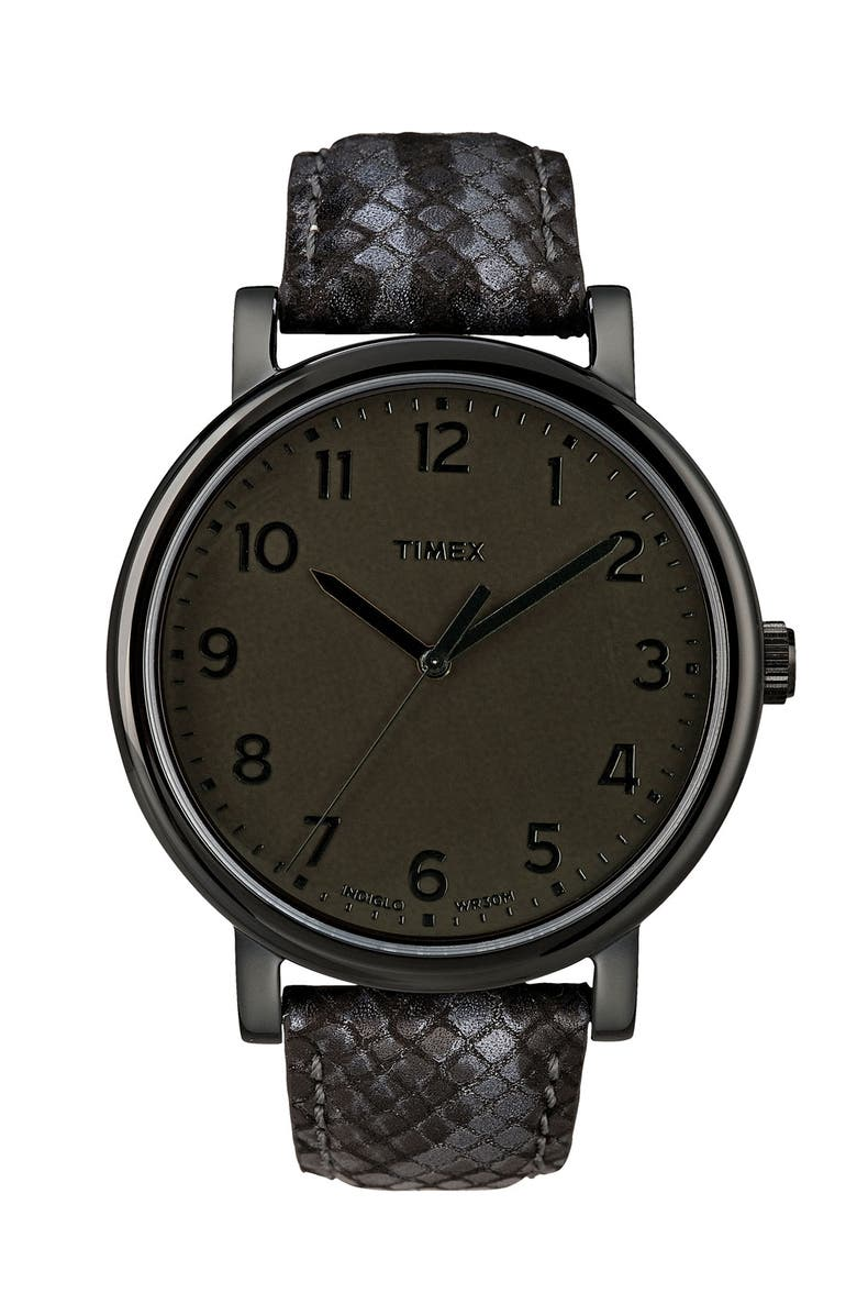 TIMEX<SUP>®</SUP> 'Easy Reader' Leather Strap Watch, Main, color, 001
