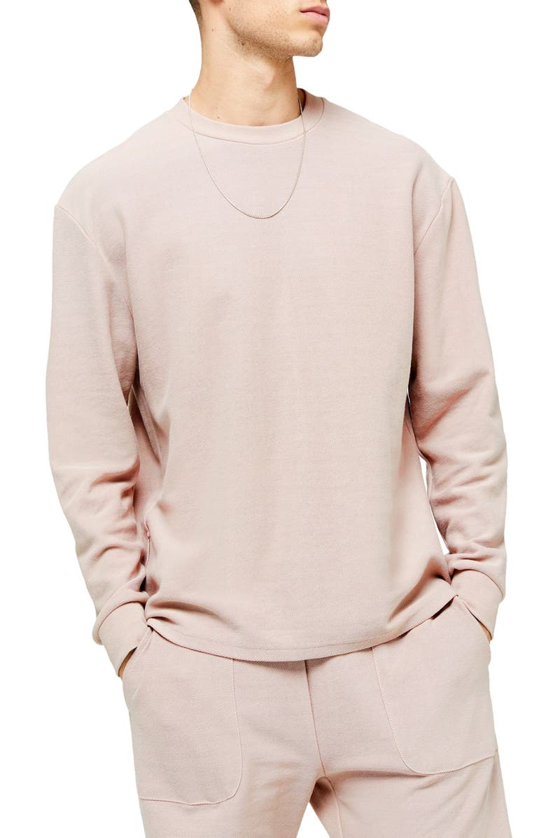 TOPMAN Classic Fit Twill Sweatshirt, Main, color, BEIGE