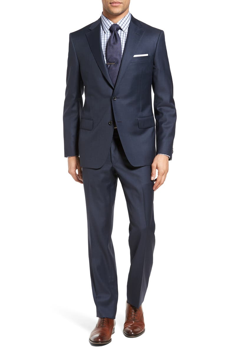 SAMUELSOHN Classic Fit Sharkskin Wool Suit, Main, color, 410