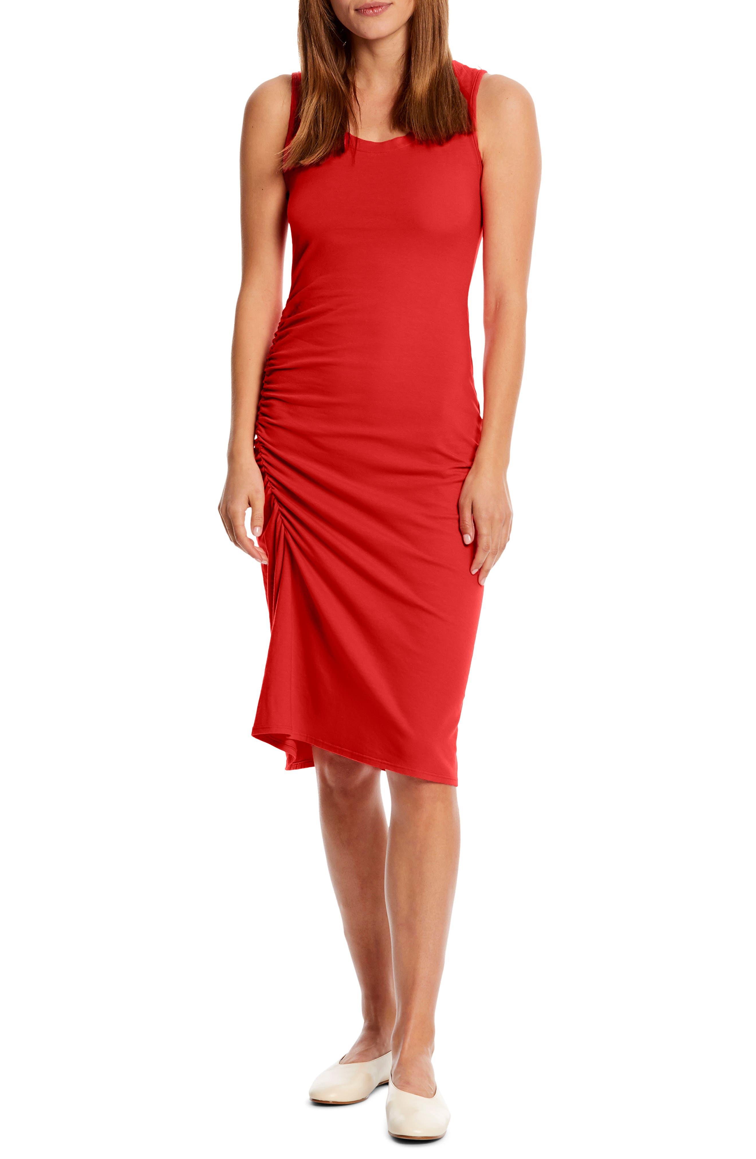 Michael Stars Natalia Ruched Stretch Cotton Tank Dress, Red